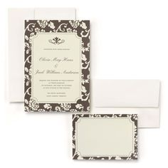 Brown Flourish Wedding Invitation Kit includes 50 of each: invitations, RSVP cards, and envelopes for each. Both the invitations and the RSVP cards are made of ivory cardstock with a brown border and an ivory flourish print. The top of the invitation is printed with a brown flourish accent. Both envelopes are ivory.