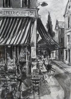 Metro Cafe, South William Street, Dublin, Ireland, charcoal on canvas, Gerard Byrne, www.gerardbyrneartist.com