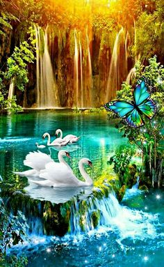 Wallpaper Nature Flowers, Beautiful Landscape Wallpaper, Beautiful Flowers Wallpapers, Scenery Wallpaper, Beautiful Paintings, Beautiful Landscapes, Beautiful Nature Pictures, Nature Photos, Waterfall Wallpaper