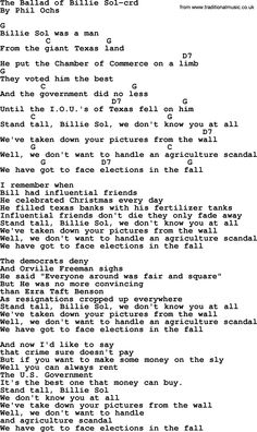Phil Ochs Song The Ballad Of Billie Sol By Lyrics And Chords