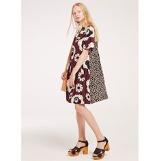 Orla Kiely | USA | Clothing | Dresses | Silk Cotton Boat Neck Dress (17SWOTT754) | Morello