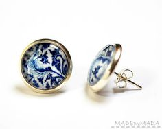 Blue Leaf Studs porcelain motif  Earrings feminine Jewelery, Free Shipping from MADEbyMADA on Etsy, $15.00