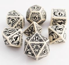 Steampunk Dice (Beige) | RPG Role Playing Game Dice Set
