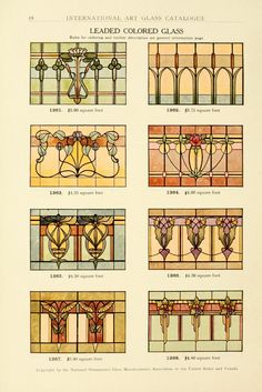 View the stained glass windows that were commercially available during the Art Nouveau era of The below plates are from the 1914 catalog of the National Ornamental Glass Manufacturers Association of the United States and Canada. Stained Glass Designs, Stained Glass Panels, Stained Glass Projects, Stained Glass Patterns, Stained Glass Art, Mosaic Glass, Leaded Glass Windows, Jugendstil Design, Art Nouveau Design