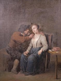 Crow's Auction Gallery : Oil on canvas, an amorous pipe smoker, late C18th/early : Online Auction Catalogue
