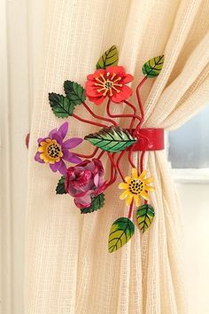 Bright Botanical Curtain Tie-Back  A colorful accent for the living room