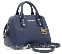 MICHAEL Michael Kors Small Saffiano  Blue Navy Satchel Purse
