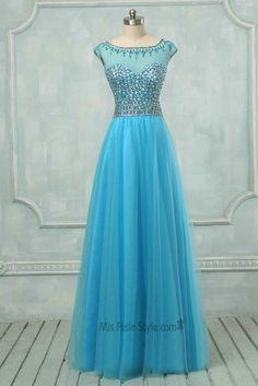 Cap Sleeves Beaded Blue Tulle Prom Dress
