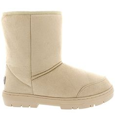 Mujer Original Short Classic Fur Lined Impermeable Invierno Rain Nieve Botas - Beige - 36
