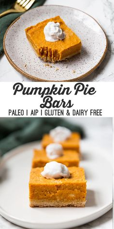 Paleo Pumpkin Pie Bars (AIP) - Unbound Wellness These paleo and AIP pumpkin pie bars are the perfect Thanksgiving dessert! Serve them topped with coconut cream, and you've got the real deal. Paleo Dessert, Paleo Sweets, Dessert Recipes, Paleo Food, Egg Free Desserts, Healthy Foods, Healthy Eating, Paleo Pumpkin Pie, Pumpkin Pie Bars