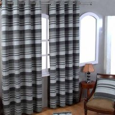 Cotton Morocco Striped Grey Curtain Pair