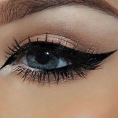Brown Shimmer with Bold Winged Eyeliner