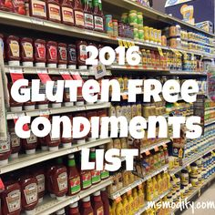 2016 Gluten Free Condiments List
