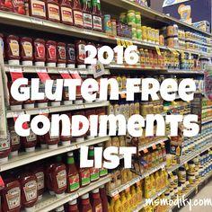 2016 Gluten Free Condiments List