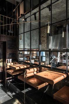 Ukrainian YOD design lab has recently completed NĂM, a restaurant of modern Vietnamese cuisine in Kiev. Modern Industrial Decor, Industrial House, Industrial Interiors, Industrial Shelving, Industrial Style, Industrial Lighting, Industrial Wallpaper, Industrial Stairs, Industrial Bedroom