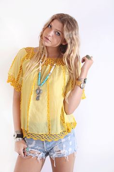Vintage 70s Yellow Crochet Lace Boho Hippie Tunic Top  www.voodoocouturevintage.com