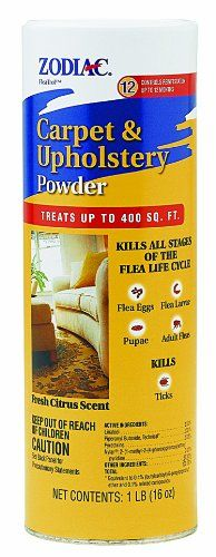 Zodiac Carpet & Upholstery Powder, 16-ounce. Kills all stages of the flea life cycle: flea eggs, flea larvae, pupae and adult fleas. Controls reinfestation for up to 12 months. Treats up to 400 square feet. Fresh citrus scent.