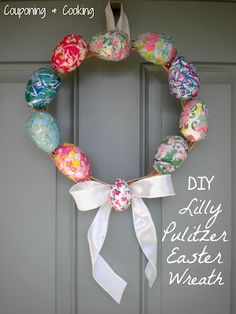 DIY Lilly Pulitzer Easter Egg Wreath