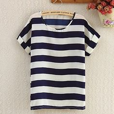 Women's Point Collar Navy Stripe Floral Print Shirt - USD $ 2.99