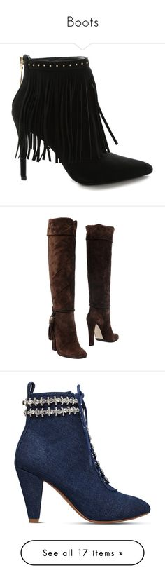 """""""Boots"""" by devorah-wells ❤ liked on Polyvore featuring shoes, boots, ankle booties, booties, accessories, home, women's, fringe ankle boots, black suede ankle booties and black bootie boots"""