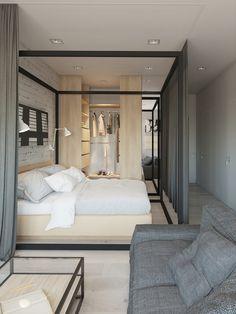 Contemporâneo sem perder o charme do toque feminino. A cortina esconde a cama/quarto. Fonte: ...