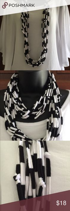 """New! Handmade Black & White T-shirt necklace. Casual look. Versatile. 42"""" long. Wrap to change the look. One of my T-shirt necklace collections. So lightweight you will hardly know you are wearing it. KSU Accessories Jewelry Necklaces"""
