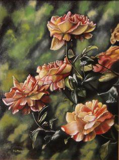 Rose oil painting Rainbow Niagara rose bush art on wood by delmus, $579.00