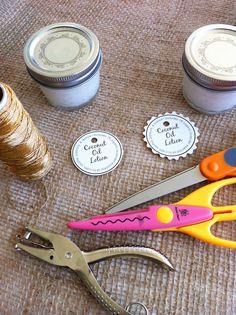 Homemade Coconut Oil Lotion Recipe - label materials