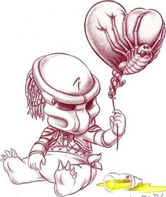 baby predator with face hugger balloon Alien Vs Predator, Predator Movie, Predator Alien, Alien Drawings, Tattoo Drawings, Art Drawings, Arte Alien, Alien Art, Horror Icons