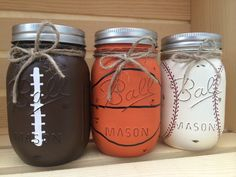 Hand-Painted Baseball Mason Jar Bank Baby by MidnightOwlCandleCo