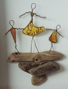 Wire Art: Copper Wire & Paper on Driftwood