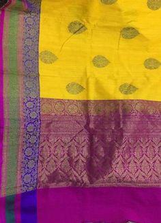 Deep lemon Banaras Dupion silk with zari border and floral butties with antiq gold zari