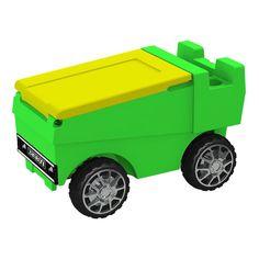 Remote Control Zamboni Ice Chest w/ Bluetooth in Lime Green Body & Neon Yellow Top