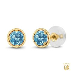 49860f4af7f0 0.66 Ct Round 4mm Swiss Blue Topaz 14K Yellow Gold Stud Earrings - Free  Shipping In USA