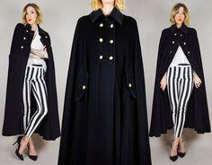 Wool CASHMERE Dejac Paris 70's MILITARY cape Cloak Draped Knit French Minimalist Maxi Coat os on Etsy, $328.00