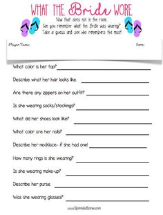 What the Bride Wore ~ Bridal Shower Game ~ Weddings ~ Bachelorette Party ~ Beach Theme by SprinkledSoiree on Etsy