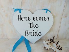 Here comes the bride sign. Heart shaped wedding by IuliaAndAlex