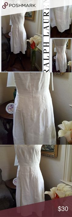 Lauren embroidered linen sundress 8 Approximate measurements are 15 inches at waist and 17 in under the arms,33 in long. I would recommend a freshening up but I will give it a good ironing prior to sale. I love all these dresses and I'm heartbroken. Ralph Lauren Dresses