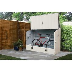 x 3 ft. Cream Heavy Duty Steel Bicycle Storage - The Home Depot Outside Bike Storage, Outdoor Bicycle Storage, Bike Storage Options, Bicycle Storage Shed, Backyard Storage, Bike Shed, Shed Storage, Locker Storage, Storage Units