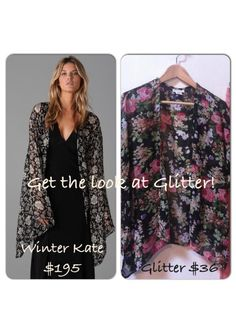 Get the look! Just in at Glitter Lifestyle Boutique: black sheer floral kimono cardigans. So chic & boho!