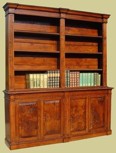 Handmade Small And Large Oak Bookcases Bookshelves With Cupboard Storage Open Shelves Glazed Doors