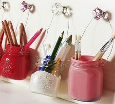 painted jars with wire hanger