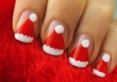 Santa Hat Nail Art