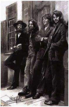 Beatles Hey Jude Charcoal Art Music Poster 11x17