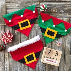 diy Elf over the collar reversible dog bandana Christmas xmas cute costume Christmas Eve family photo elf etsy Dog Accesories, Pet Accessories, Dog Clothes Patterns, Dog Crafts, Dog Items, Christmas Hat, Christmas Ornament, Dog Costumes, Diy Stuffed Animals