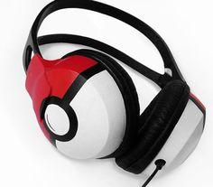 POKE-téléphones casque écouteurs en noir rouge et par ketchupize