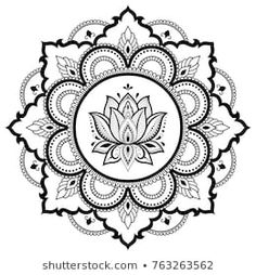 Circular pattern in form of mandala with lotus for Henna, Mehndi, tattoo, decoration. Decorative ornament in ethnic oriental style. Coloring book page. Mandala Doodle, Mandala Sketch, Mandala Dots, Mandala Drawing, Mandala Pattern, Zentangle Patterns, Mandala Oriental, Motif Oriental, Oriental Style