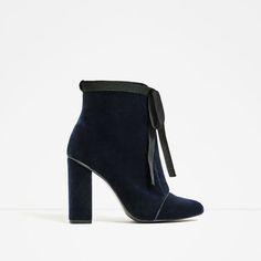 Image 2 of HIGH HEEL VELVET ANKLE BOOTS from Zara