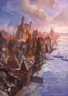 OSMADTH - Dun Elain by *Nurkhular on deviantART style of all the buildings, water entrance into the city