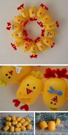 Make Easter wreath and tastefully decorate the entrance area.- Osterkranz basteln und den Eingangsbereich geschmackvoll dekorieren Easter wreath tinker from plastic chicks - Easter Art, Easter Crafts For Kids, Diy For Kids, Easter Decor, Easter Ideas, Easter Eggs, Egg Crafts, Diy And Crafts, Paper Crafts